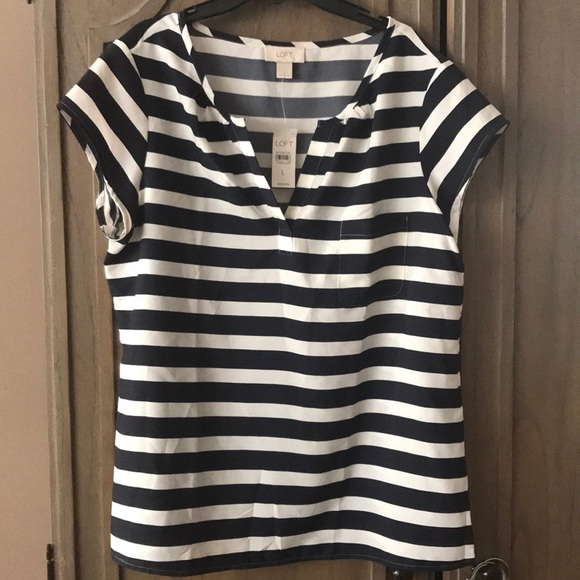LOFT Tops - NWT Ann Taylor LOFT Navy & White S/S Top Large